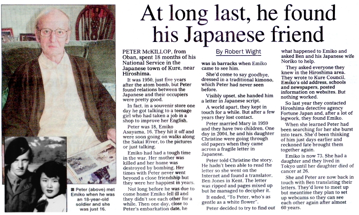 Sunday Post article about Peter McKillop and Emiko Asayama